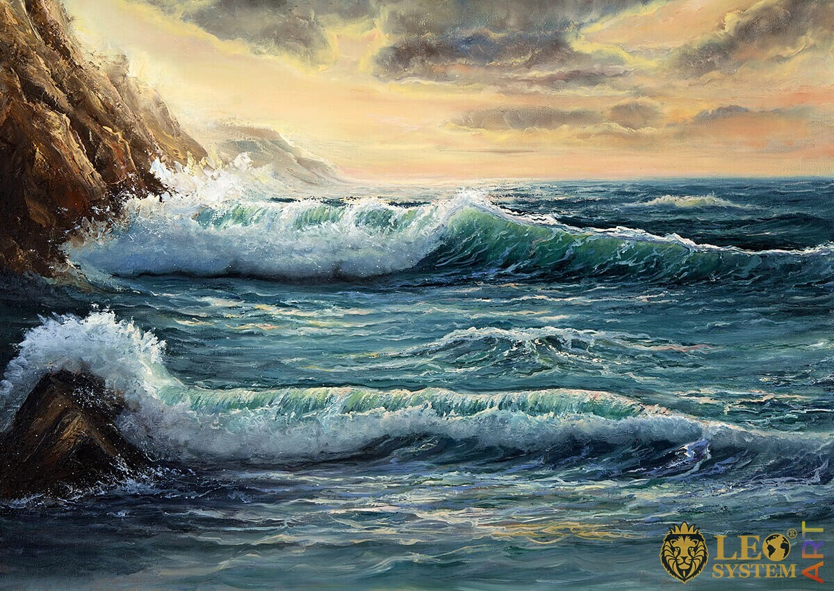 Painting with raging waves near the rocks
