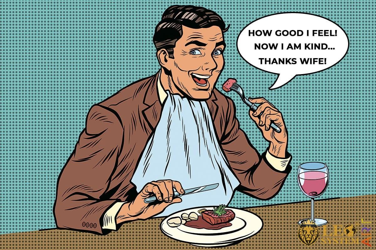 Satisfied man eating meat steak