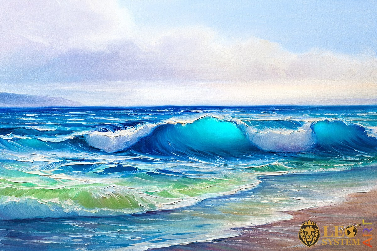 Delicate waves at dawn, oil painting
