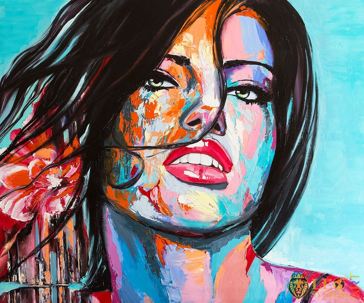 Original oil painting with attractive woman face