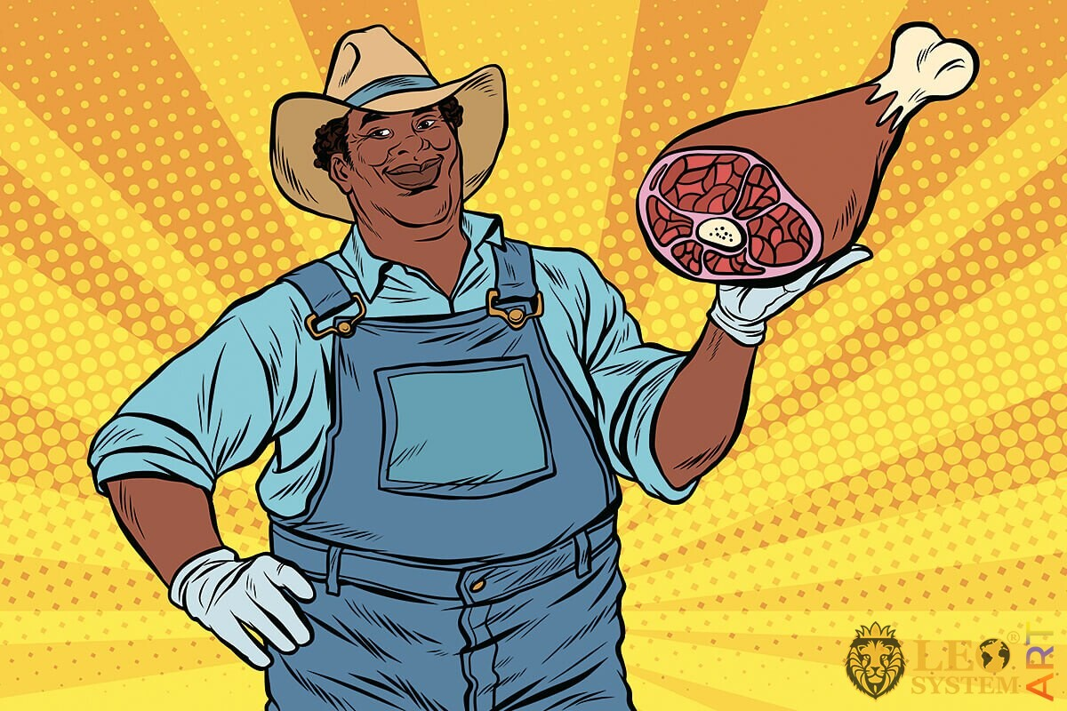 Illustration of a farmer with a meat foot