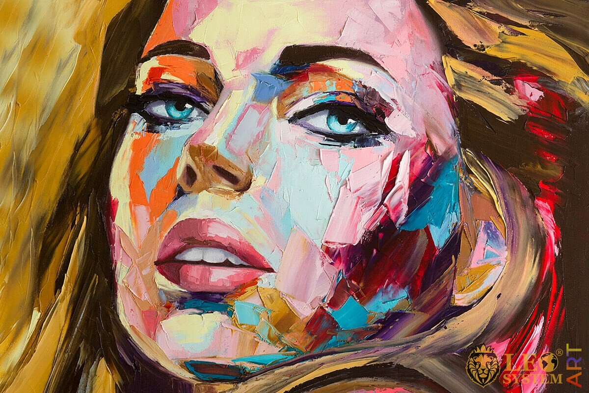 Oil painting with a beautiful female face