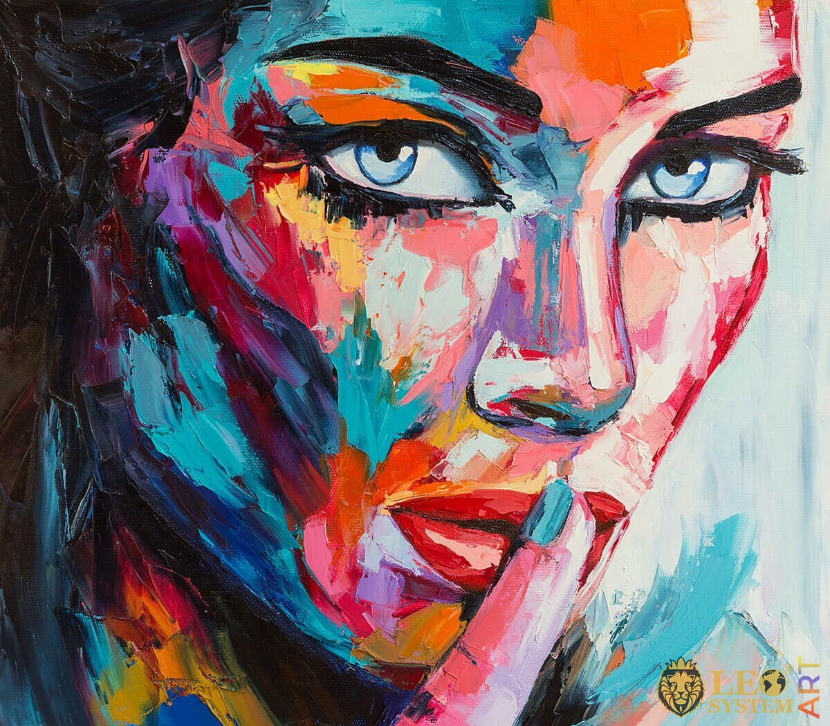 Woman with piercing eyes, original painting