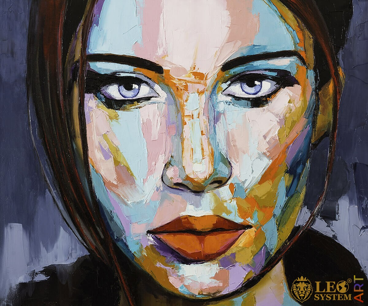 Painting with the face of a pretty woman