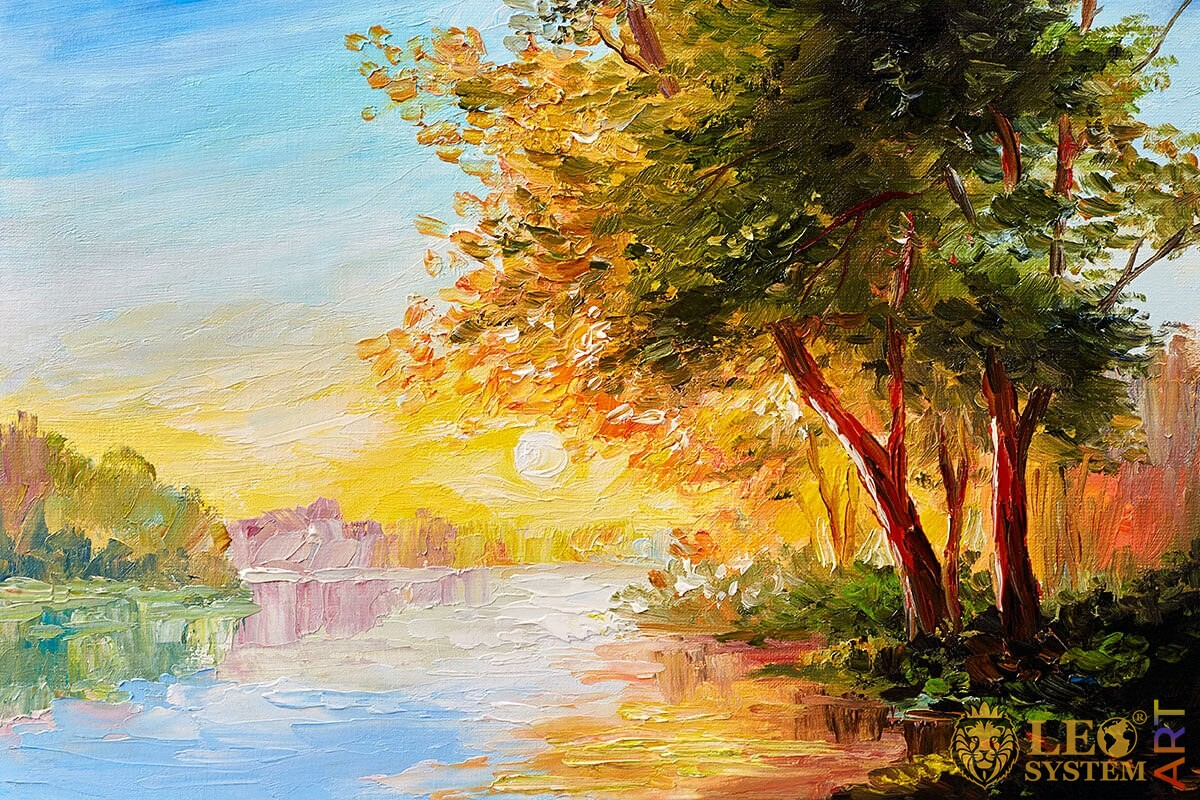Trees with green and yellow leaves on the river shore, oil painting