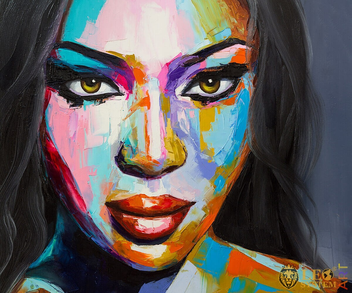 Oil painting with the face of a fantastic woman