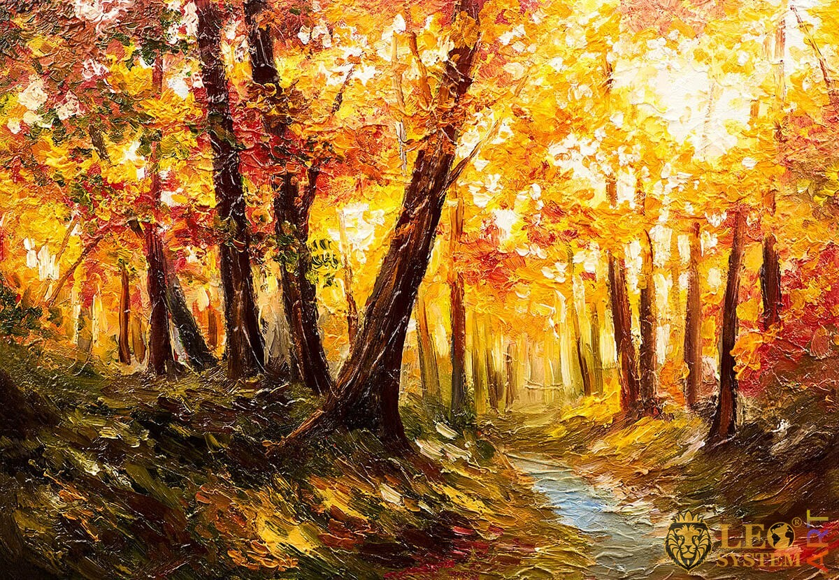 Dense forest and stream, bright morning, oil painting