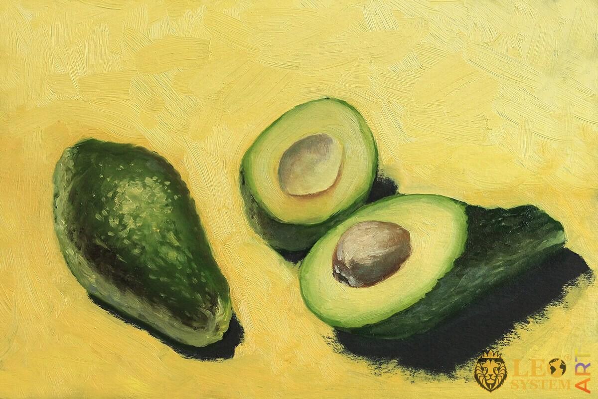 Original oil painting with avocado