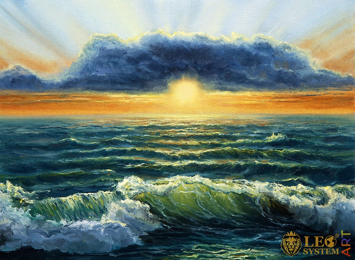 Bright sunset and waves, oil painting on canvas