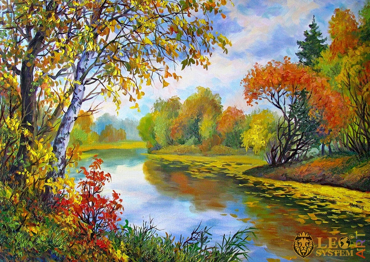Landscape, trees with yellow and red leaves, river shore, oil painting