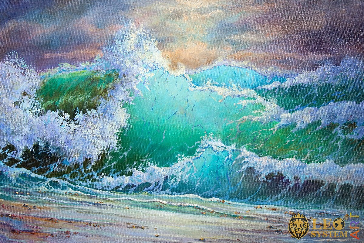 Strongly raging waves, original painting