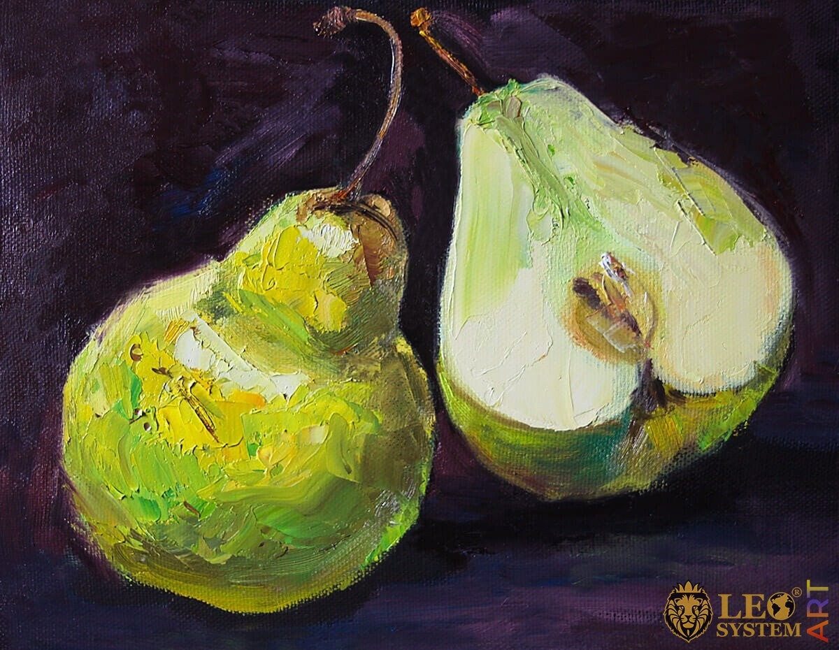 Original painting with two green pears