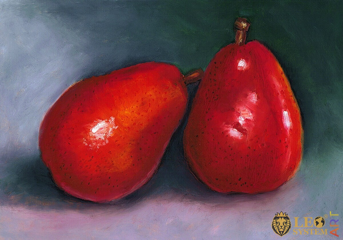 Painting two large red pears