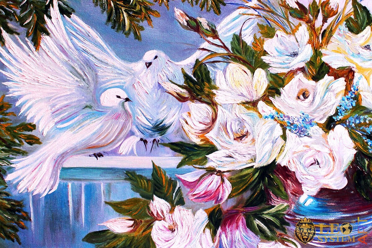Painting of two pretty white doves in flowers
