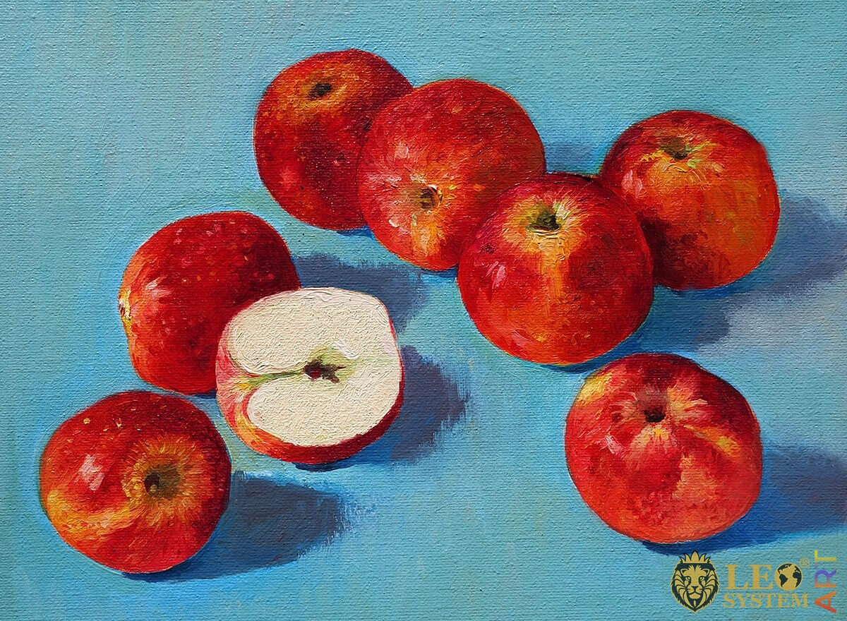 Painting with of delicious red apples