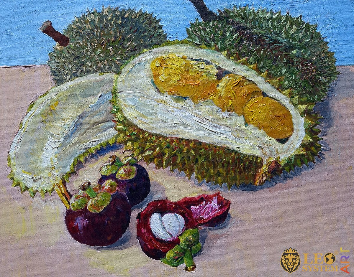 Oil painting set of exotic fruits