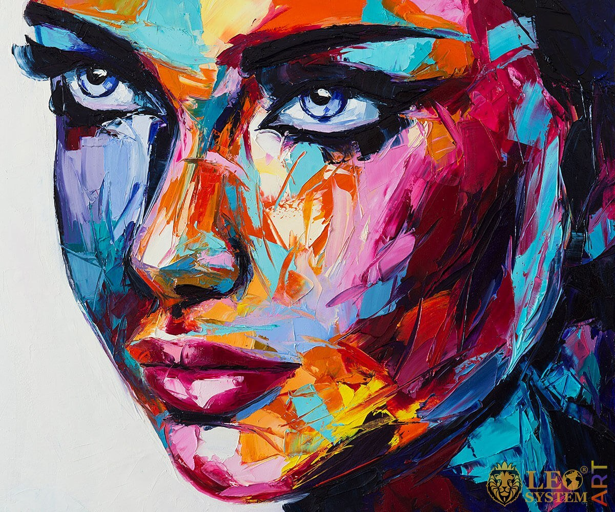 Attractive woman with bright face, original oil painting