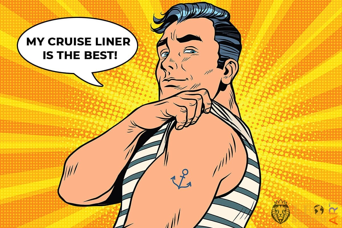 The captain of the liner shows a drawn anchor on his hand
