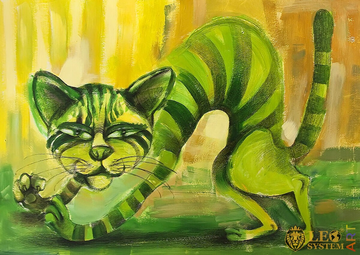 Painting of a cheerful green cat