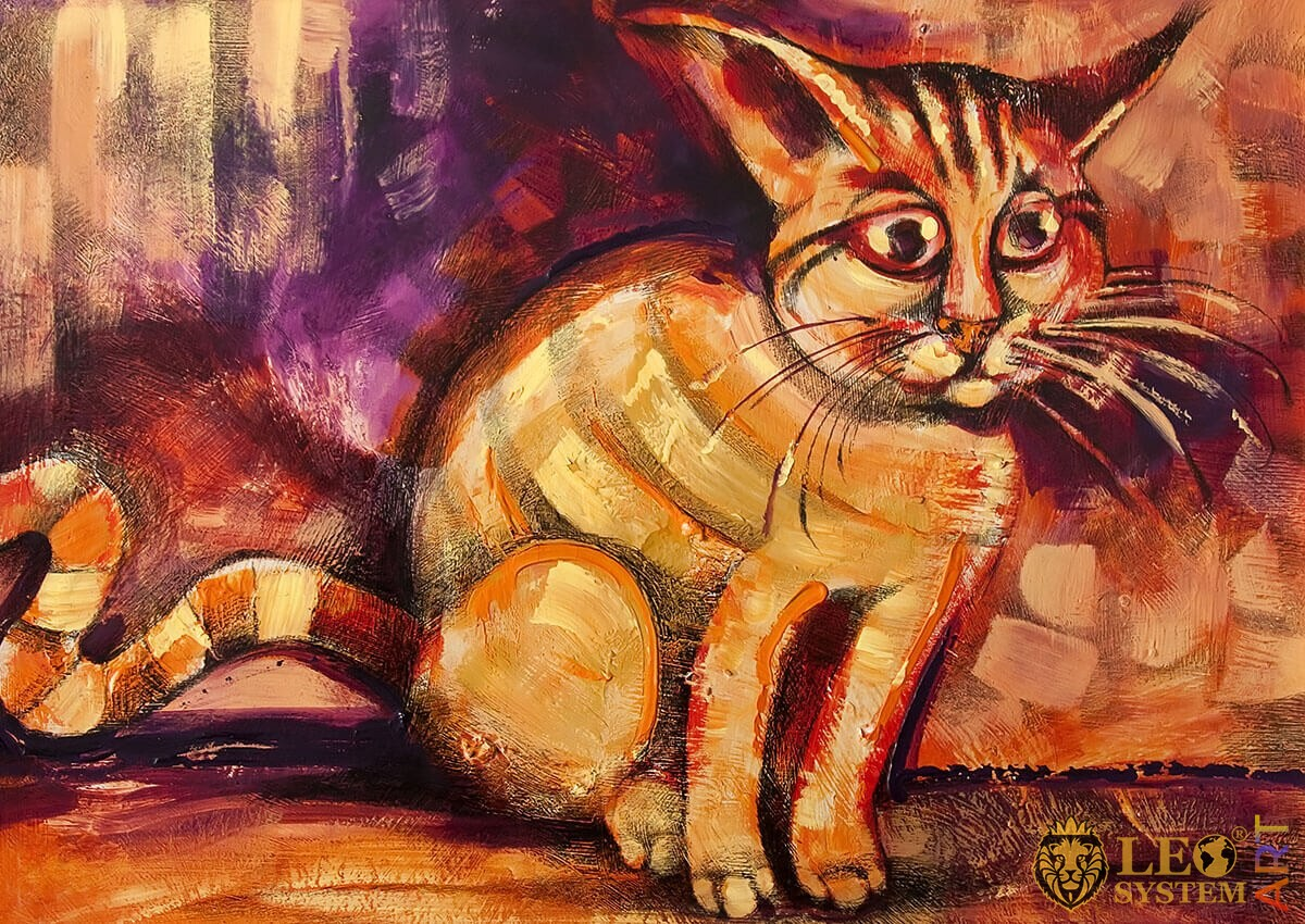 Oil painting cat with a big mustache