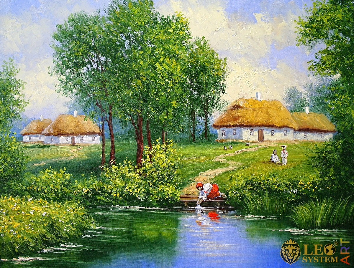 Oil painting with rural houses and a woman by the lake