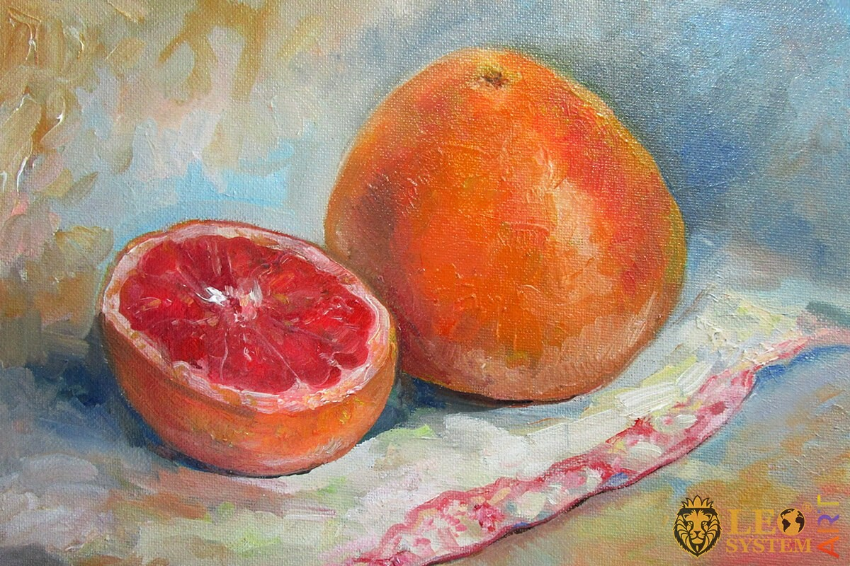 Oil painting on canvas delicious grapefruit
