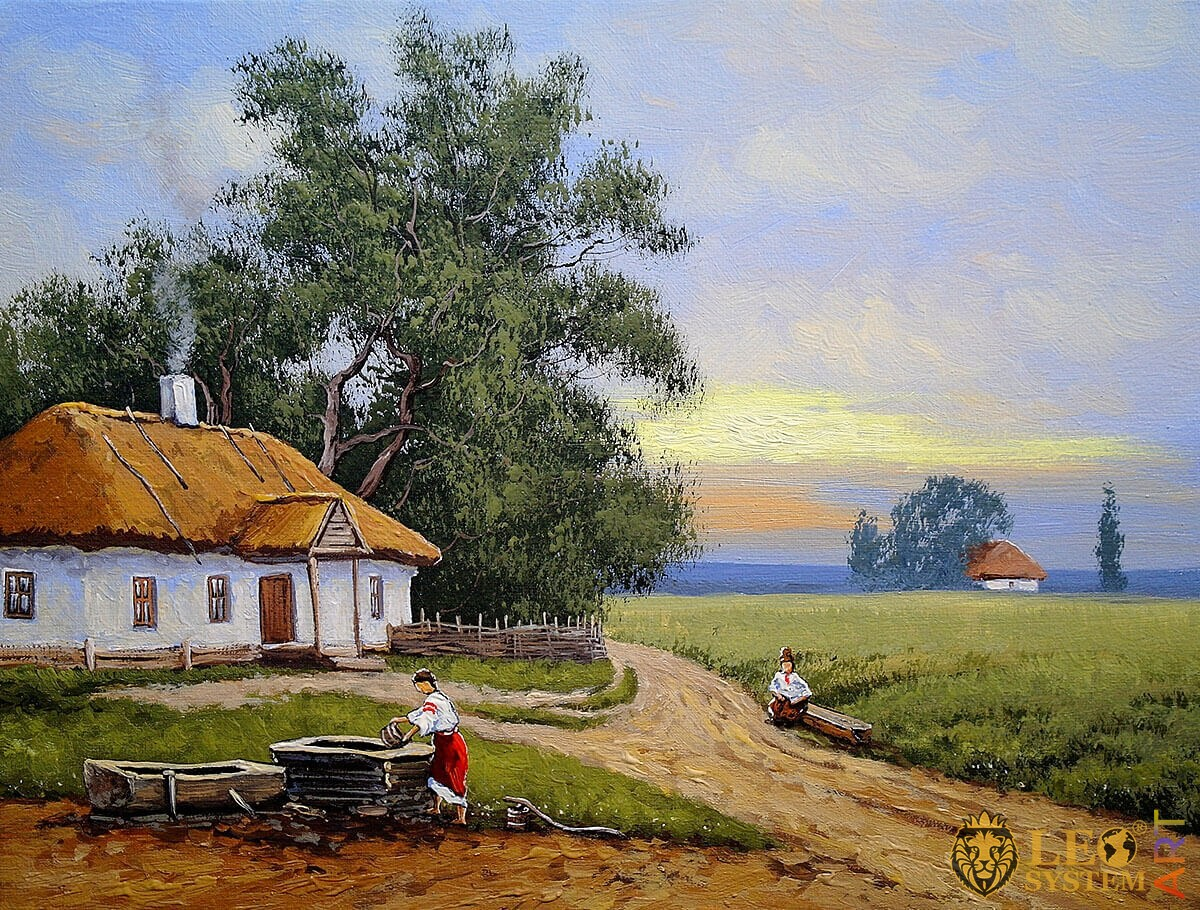 Rural landscape, woman draws water from a well, oil painting
