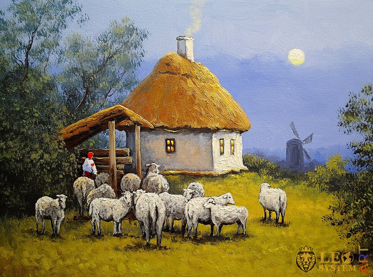 Nature, rural house and several sheep nearby, village, oil painting