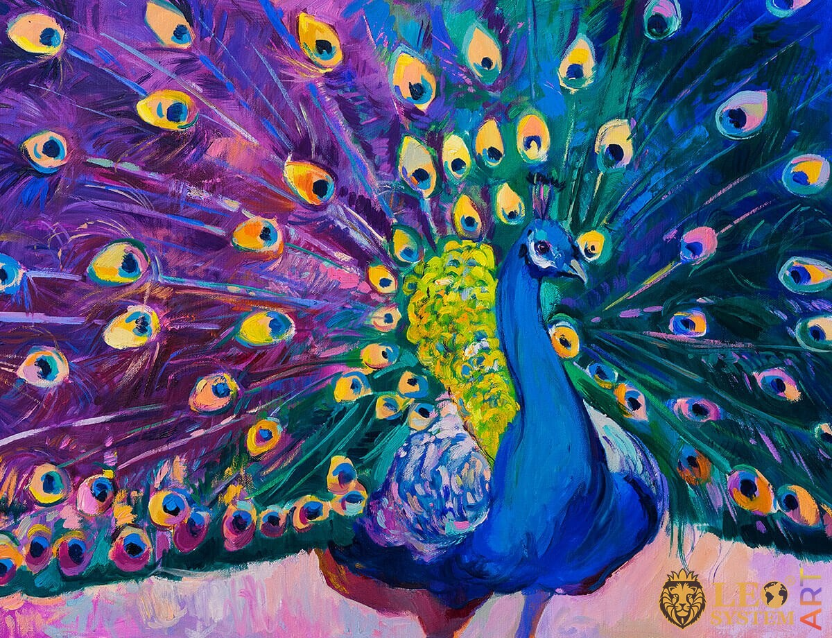 Oil painting on canvas bright peacock