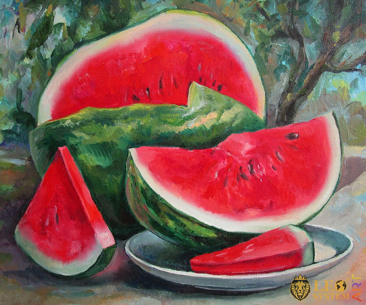 Painting ripe red watermelon