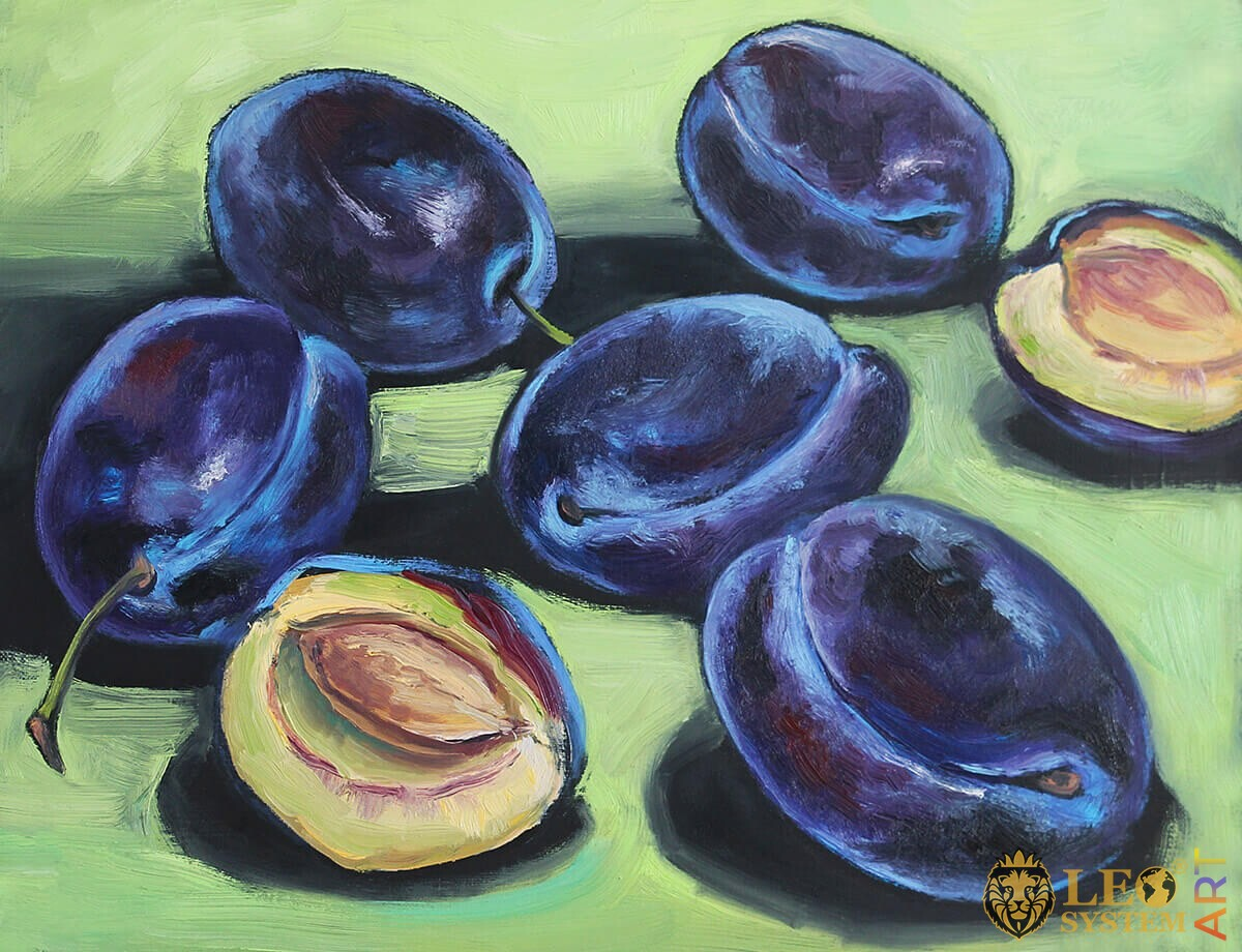 Original painting of a lot of ripe plums
