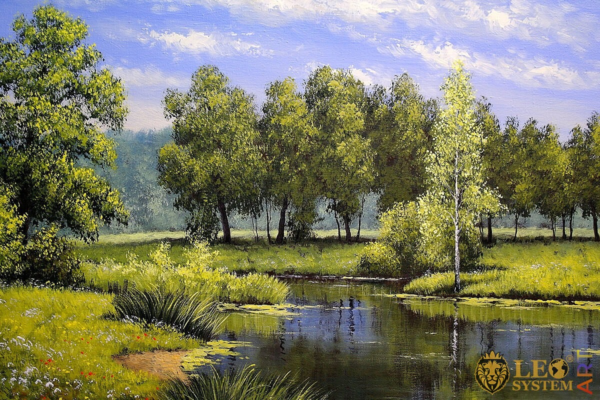 Oil painting beautiful forest and river