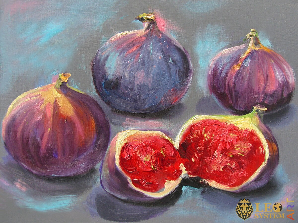 Painting of ripe figs on gray background