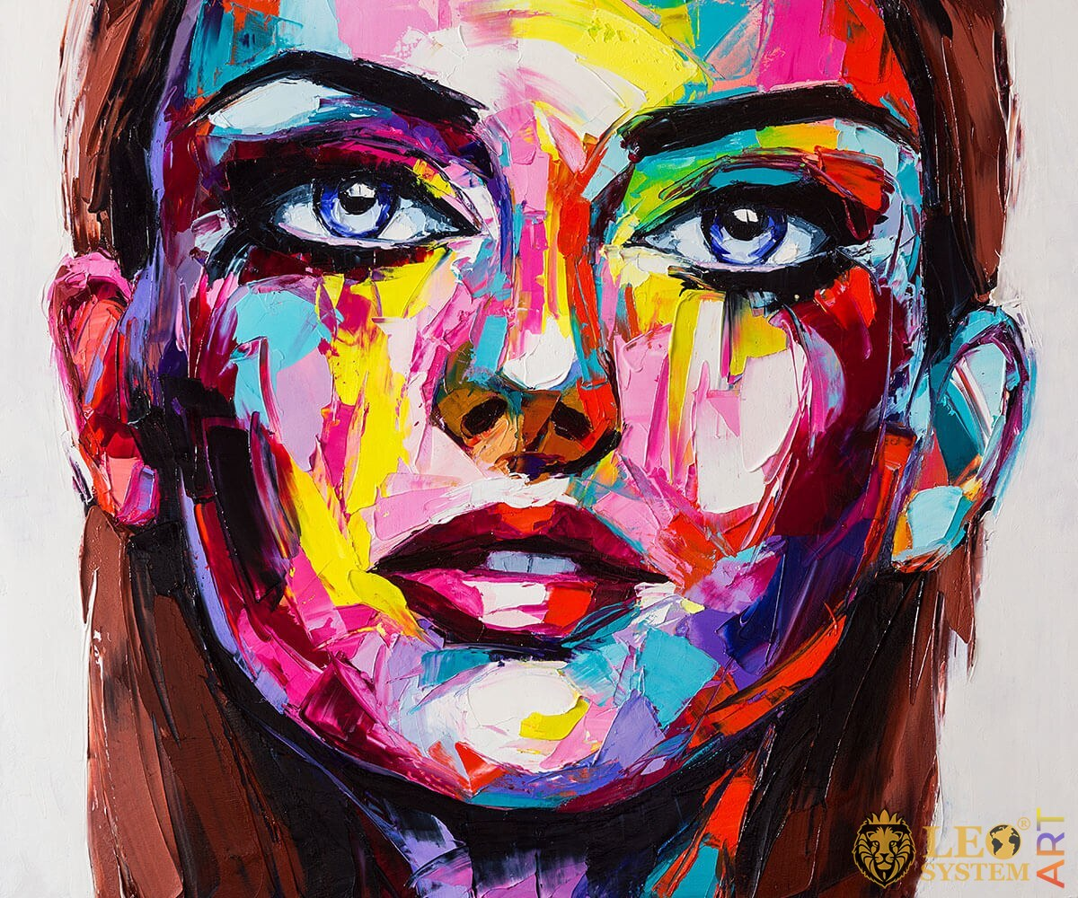 Oil painting woman with a deep look