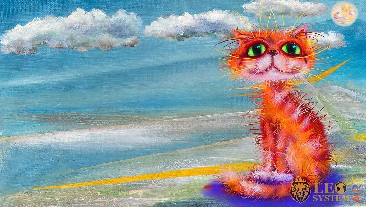 Funny cat on the background of the sea