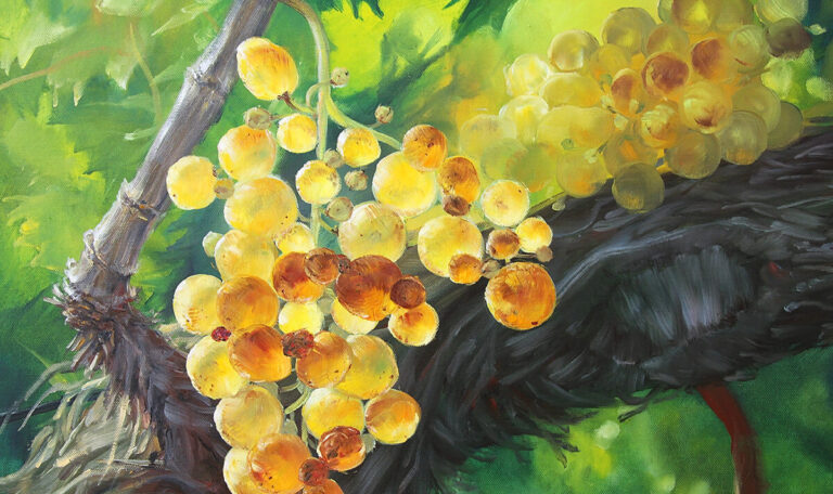 Oil painting on canvas yellow grapes with leaves on a branch