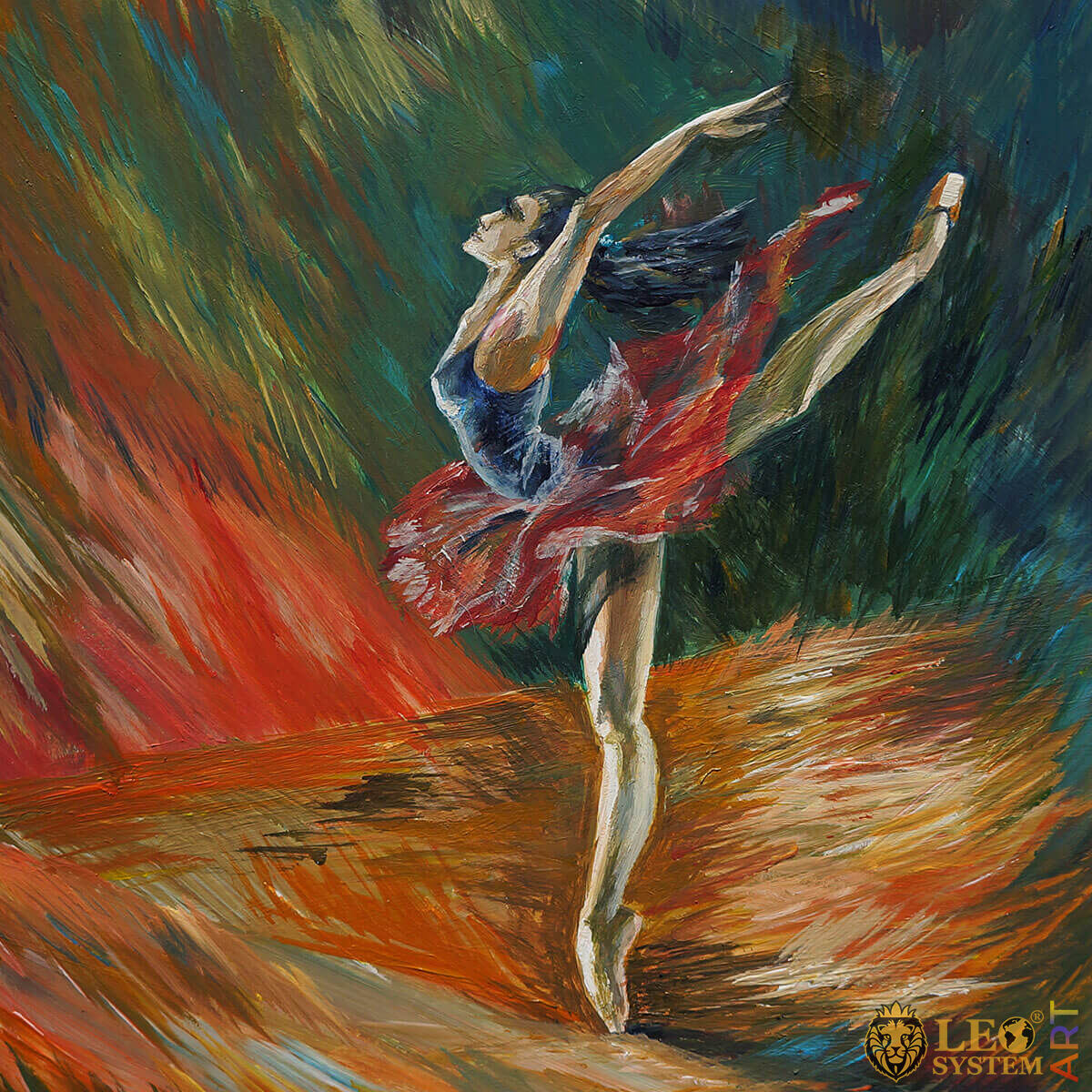 Painting with a dancing ballerina in a red tutu