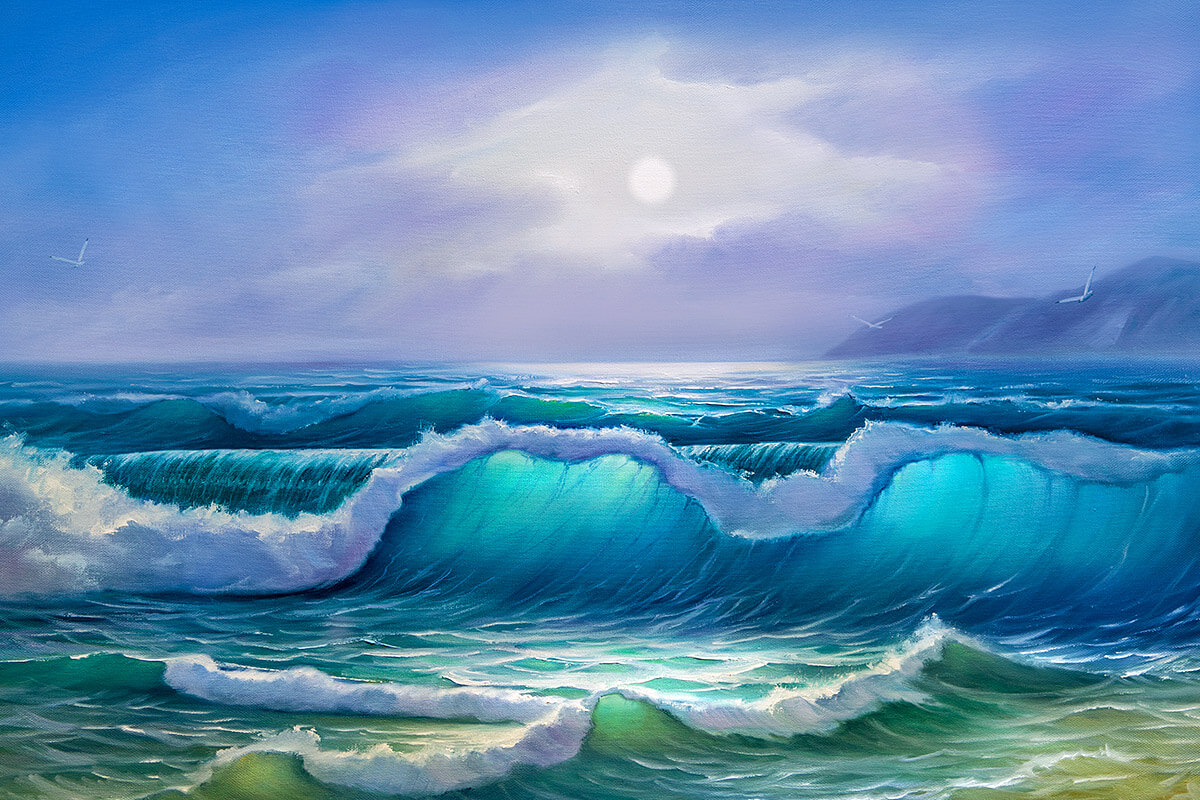 Painting with sea waves and flying seagulls