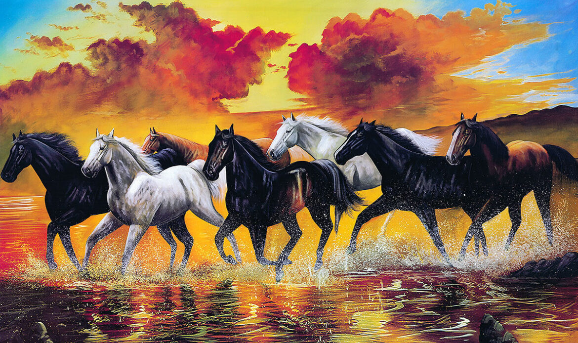 Oil painting on canvas horses running on water