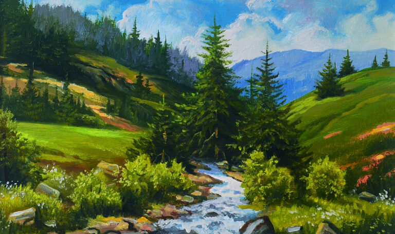 Mountain nature landscape, running stream, original painting