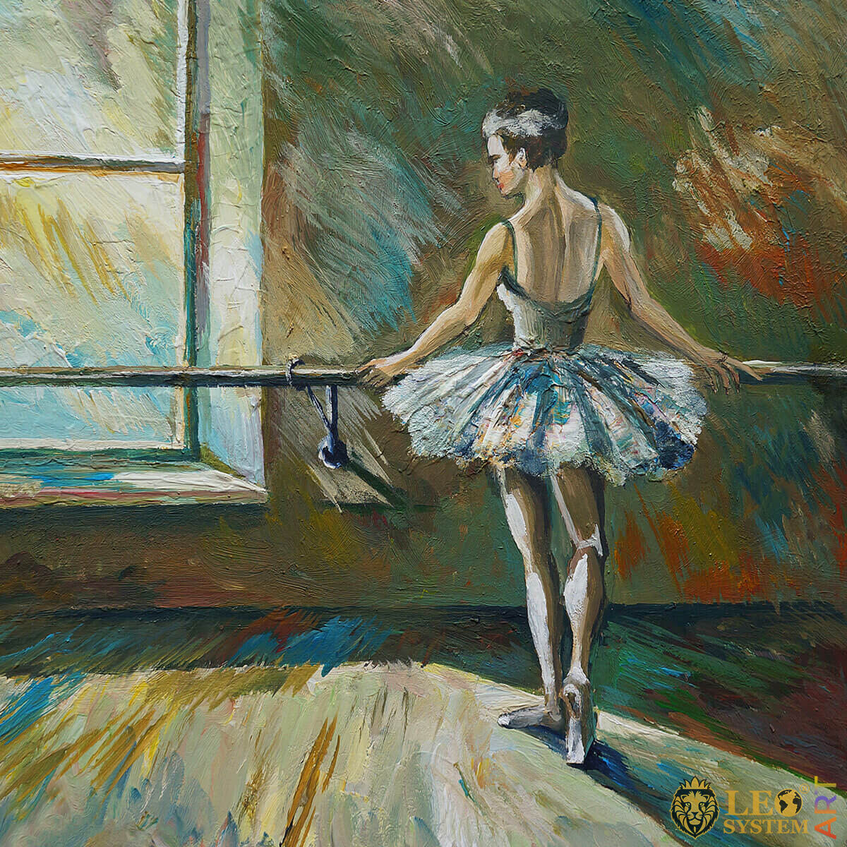 A dancer stands in a rehearsal room in a tutu, original painting