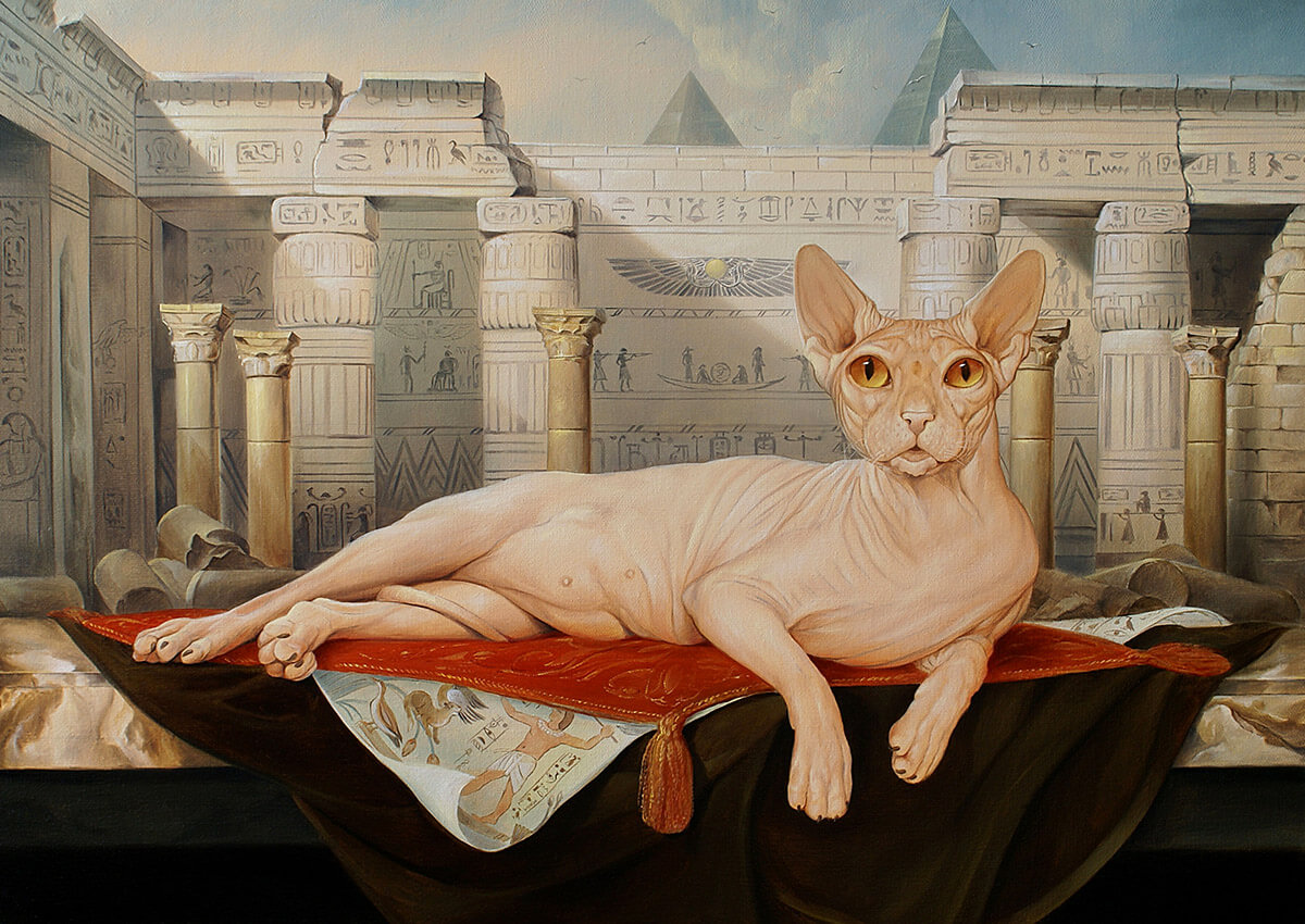 Painting of a lying cat against the background of the Egyptian Pyramids