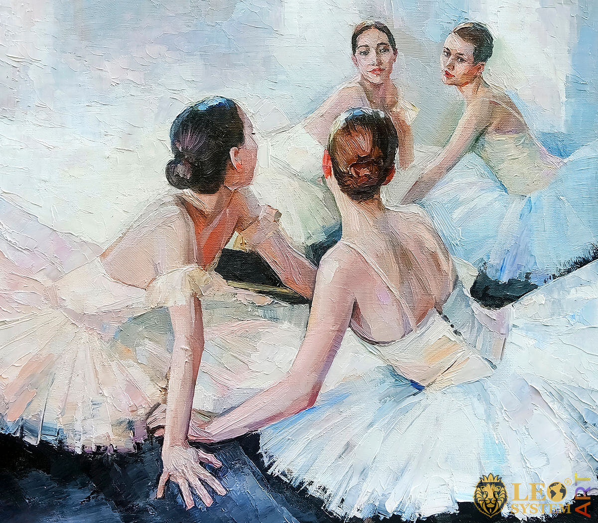 Beautiful ballerinas sit on the floor and look in the mirror, oil painting