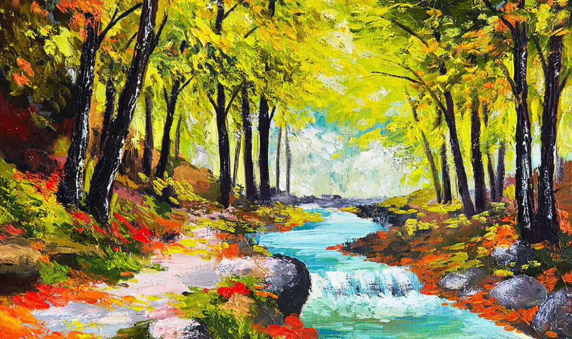 Painting with a fast stream in the forest