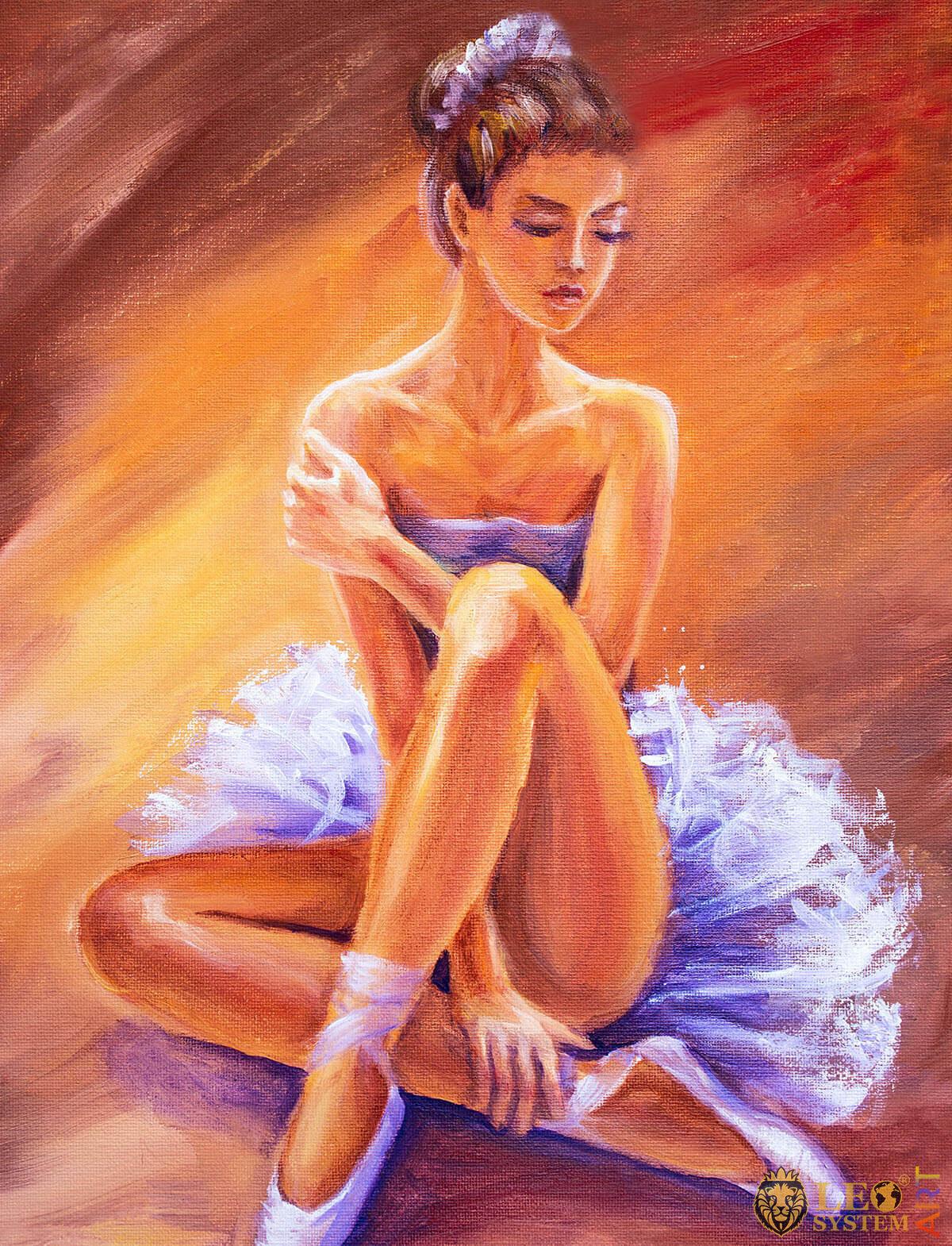 Cute ballerina sitting in a tutu, oil painting