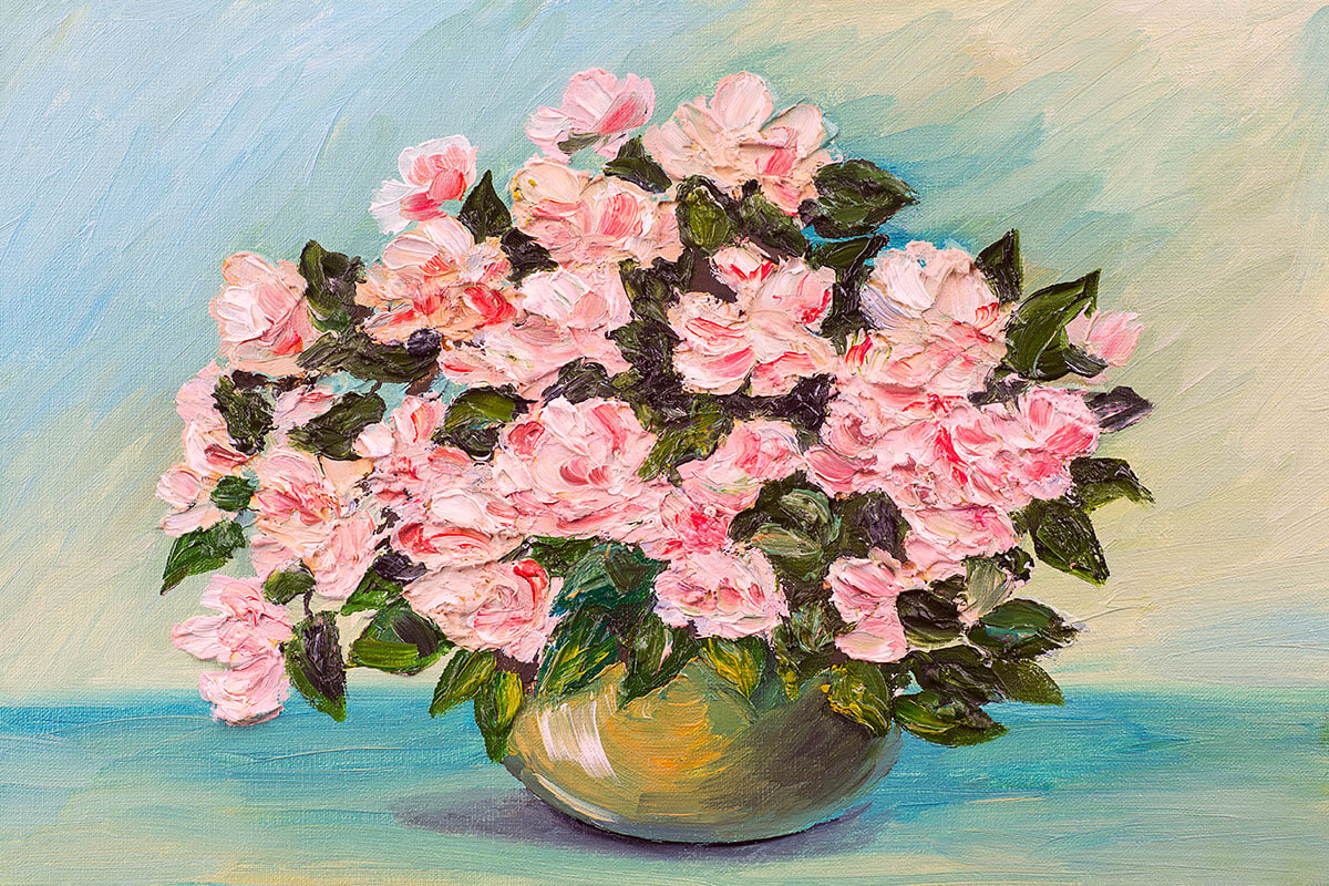 Beautiful oil painting bouquet of pink flowers