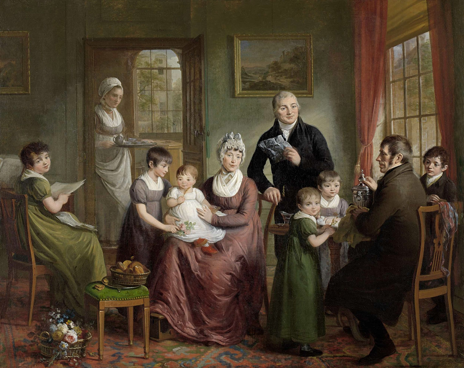 Portrait of the Family of Adriaan Bonebakker with Dirk L. Bennewitz, Artist: Adriaan de Lelie, 1809, Amsterdam, Netherlands, Original painting