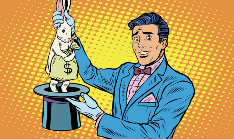 The magician who pulls out a rabbit with money from his hat