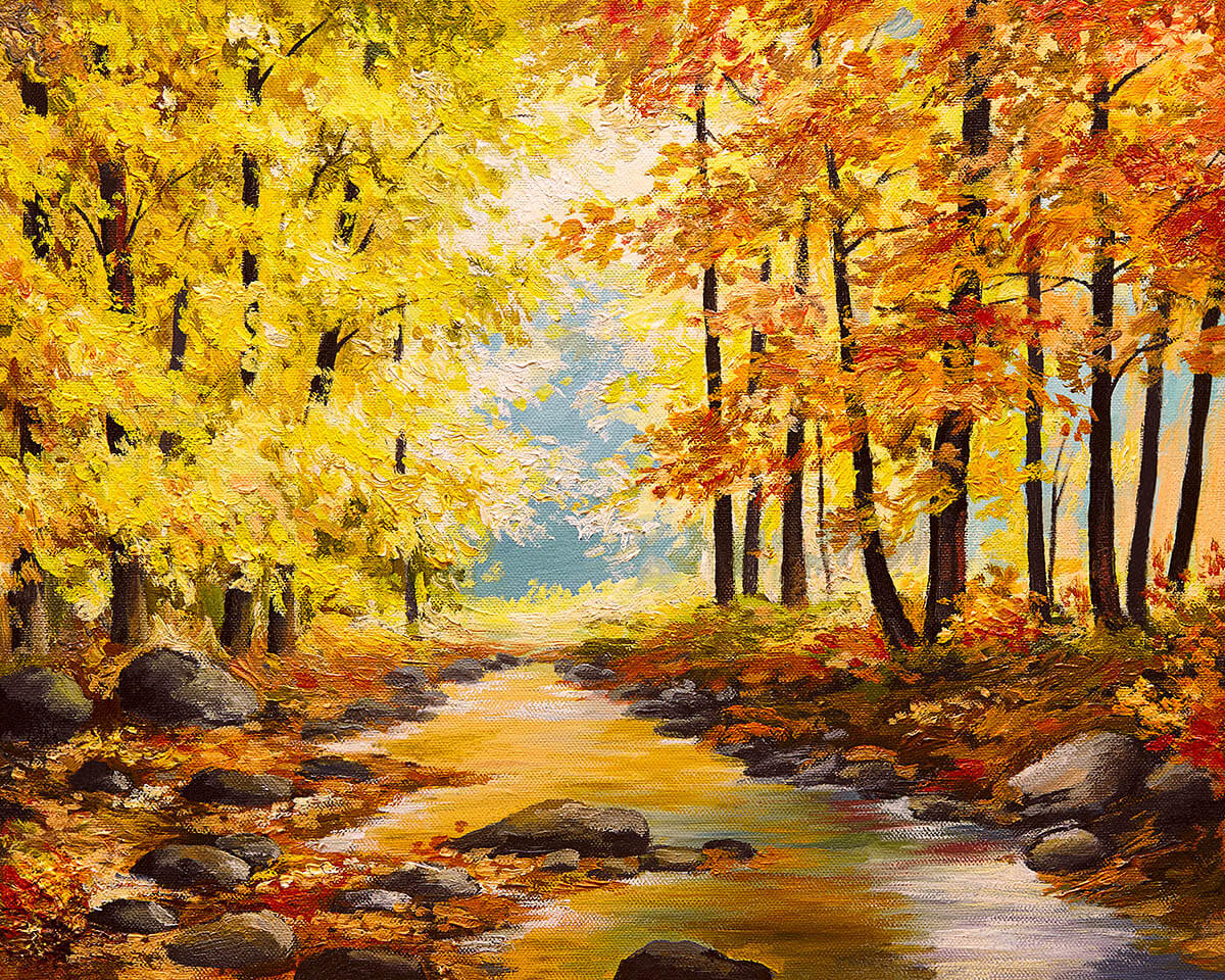 Painting with trees and a stream in the forest