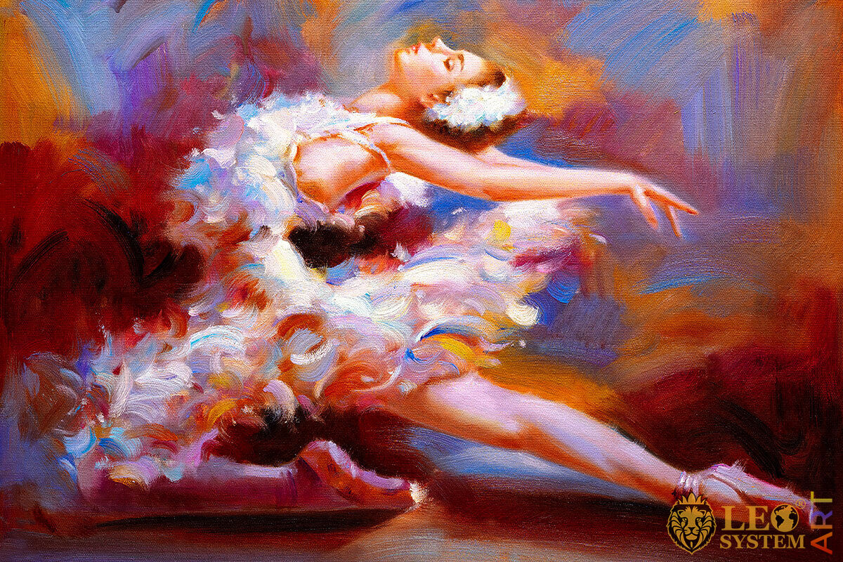 Original painting with a flying ballerina